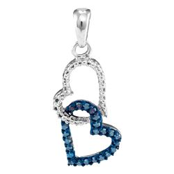 0.15 CTW Blue Color Diamond Double Heart Dangle Pendant 10KT White Gold - REF-10W5K