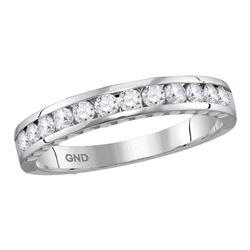 0.50 CTW Diamond Wedding Anniversary Ring 14KT White Gold - REF-44H9M