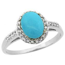 Natural 1.3 ctw Turquoise & Diamond Engagement Ring 14K White Gold - REF-33K8R