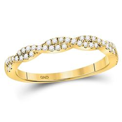 0.24 CTW Diamond Woven Stackable Ring 10KT Yellow Gold - REF-26K9W