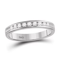 0.28 CTW Diamond Wedding Ring 14KT White Gold - REF-37F5N