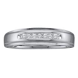 0.08 CTW Mens Diamond Channel-set Anniversary Ring 14KT White Gold - REF-20F9N