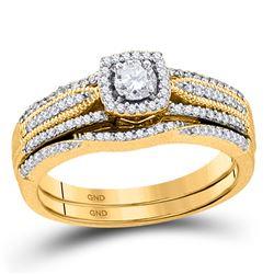 0.38 CTW Diamond Bridal Wedding Engagement Ring 10KT Yellow Gold - REF-59M9H