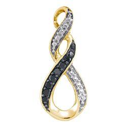 0.08 CTW Black Color Diamond Vertical Infinity Pendant 10KT Yellow Gold - REF-7X4Y