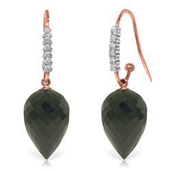 Genuine 24.68 ctw Black Spinel & Diamond Earrings Jewelry 14KT Rose Gold - REF-50K5V