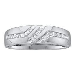0.12 CTW Mens Channel-set Diamond Triple Row Wedding Ring 10KT White Gold - REF-14K9W