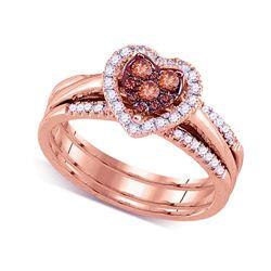 0.50 CTW Cognac-brown Color Diamond Heart Cluster Bridal Ring 14KT Rose Gold - REF-67F4N