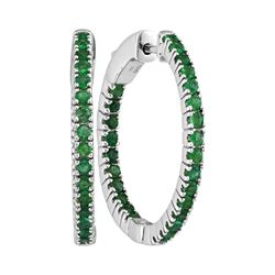 1.23 CTW Natural Emerald Hoop Earrings 14KT White Gold - REF-82W4K