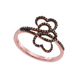 0.20 CTW Red Color Diamond Heart Love Ring 10KT Rose Gold - REF-22K4W