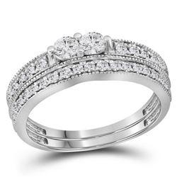 0.75 CTW Diamond 2-Stone Bridal Wedding Engagement Ring 14KT White Gold - REF-75Y2X