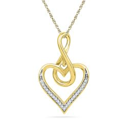 0.07 CTW Diamond Infinity Heart Love Pendant 10KT Yellow Gold - REF-10Y5X