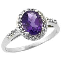 Natural 1.3 ctw Amethyst & Diamond Engagement Ring 14K White Gold - REF-32Y2X