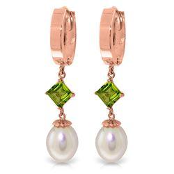 Genuine 9.5 ctw Pearl & Peridot Earrings Jewelry 14KT Rose Gold - REF-53Z2N