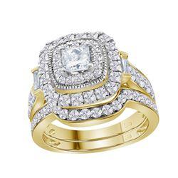 2 CTW Diamond Square Halo Bridal Engagement Ring 14KT Yellow Gold - REF-285M2H