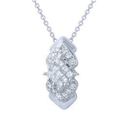 0.58 CTW Diamond Necklace 14K White Gold - REF-32H4M