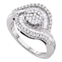 1 CTW Diamond Flower Cluster Ring 14KT White Gold - REF-94X4Y