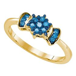 0.25 CTW Blue Color Diamond Flower Cluster Ring 10KT Yellow Gold - REF-19H4M