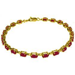 Genuine 8 ctw Ruby Bracelet Jewelry 14KT Yellow Gold - REF-119K7V