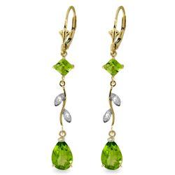 Genuine 3.97 ctw Peridot & Diamond Earrings Jewelry 14KT Yellow Gold - REF-44A9K