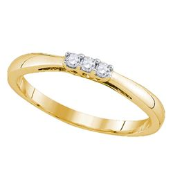 0.07 CTW Diamond 3-stone Bridal Engagement Ring 10KT Yellow Gold - REF-10F5N