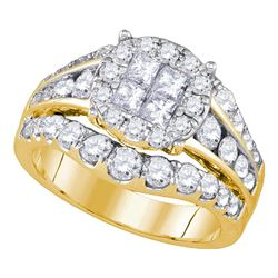 2.1 CTW Princess Diamond Soleil Halo Bridal Ring 14KT Yellow Gold - REF-240W2K
