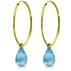 Genuine 4.5 ctw Blue Topaz Earrings Jewelry 14KT Yellow Gold - REF-26A2K