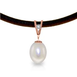 Genuine 4.01 ctw Pearl & Diamond Necklace Jewelry 14KT Rose Gold - REF-23W6Y