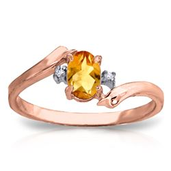 Genuine 0.46 ctw Citrine & Diamond Ring Jewelry 14KT Rose Gold - REF-28P3H