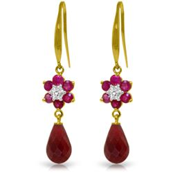 Genuine 7.61 ctw Ruby & Diamond Earrings Jewelry 14KT Yellow Gold - REF-49T8A