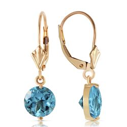 Genuine 3.1 ctw Blue Topaz Earrings Jewelry 14KT Yellow Gold - REF-34Z3N