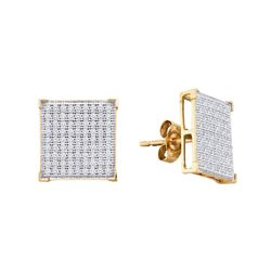 0.50 CTW Diamond Square Cluster Earrings 10KT Yellow Gold - REF-40F4N