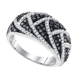 0.70 CTW Black Color Diamond Fin Ring 10KT White Gold - REF-34W4K