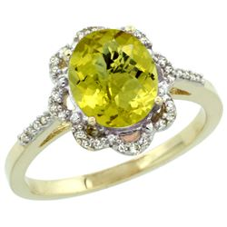 Natural 1.85 ctw Lemon-quartz & Diamond Engagement Ring 10K Yellow Gold - REF-28X4A