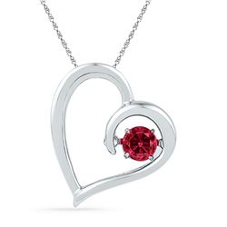 0.20 CTW Created Ruby Heart Love Pendant 10KT White Gold - REF-13K4W