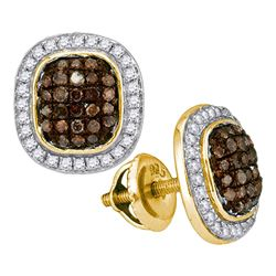 0.55 CTW Cognac-brown Color Diamond Oval Cluster Earrings 10KT Yellow Gold - REF-30X2Y