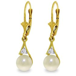 Genuine 4.06 ctw Pearl & Diamond Earrings Jewelry 14KT Yellow Gold - REF-40Z5N