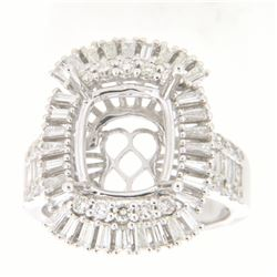 1.44 CTW Diamond Semi Mount Ring 14K White Gold - REF-158M3F