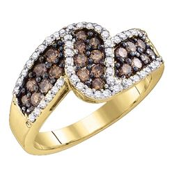 1 CTW Cognac-brown Color Diamond Ring 10KT Yellow Gold - REF-75F2N