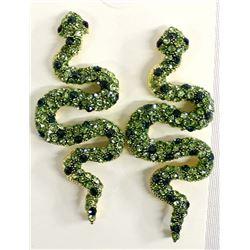 Green Rhinestone Bling Snake Earrings