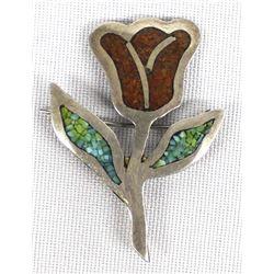 Navajo Sterling Silver Chip Inlay Pin