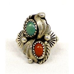 Navajo Sterling Silver, Coral, & Turquoise Ring