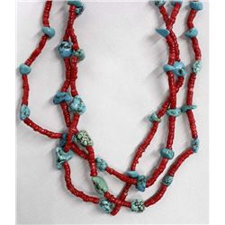 3 Strand Coral & Turquoise Necklace