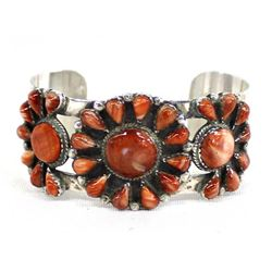 Navajo Sterling and Apple Coral Cuff Bracelet