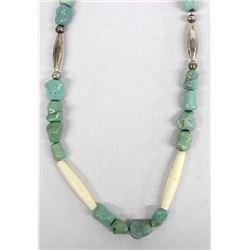 Navajo Turq., Hollow SS Bead& Hare Bone Necklace