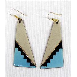 Turquoise Gray & Black Enamelware Copper Earrings