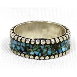 Navajo Sterling Silver Turquoise Chip Inlay Ring