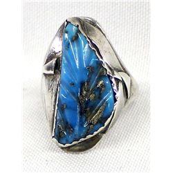 Vintage Zuni Sterling & Carved Turquoise Ring