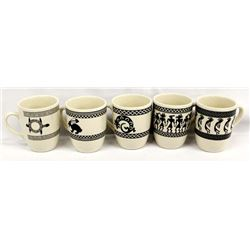 Set of 5 Anasazi Traders Mimbres Designed Cups
