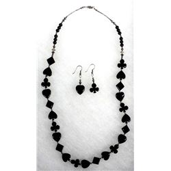 Sterling and Carved Onyx Necklace & Earrings
