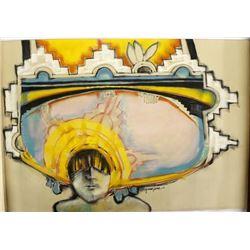 Original Hopi Pastel Chalk Drawing by D. Numkena